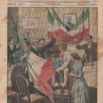"""Capodanno """"senza austriaci"""" in terra redenta. Nella casa trasformata in altare d'italianità, la famiglia italiana saluta con il bacio al tricolore l'alba del primo anno dopo la liberazione. (Disegno di A. Beltrame)"""