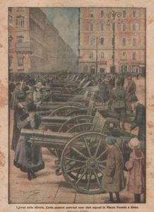 I Trofei della Vittoria cento cannoni austriaci sono stati esposti in Piazza Venezia a Roma